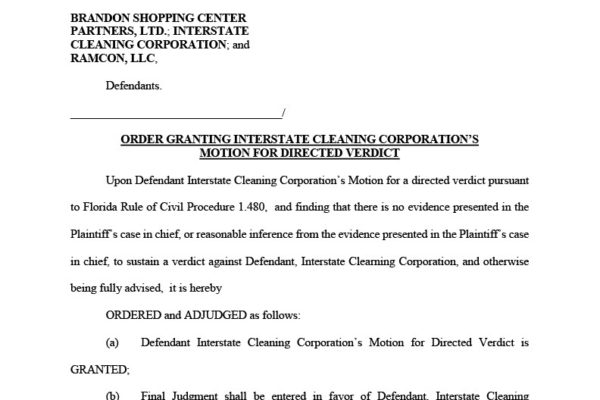 Butler vs Brandon Shopping Center and Intestate Cleaning Copr -Order Granting ICC Motion for Directed Verdict1024_1