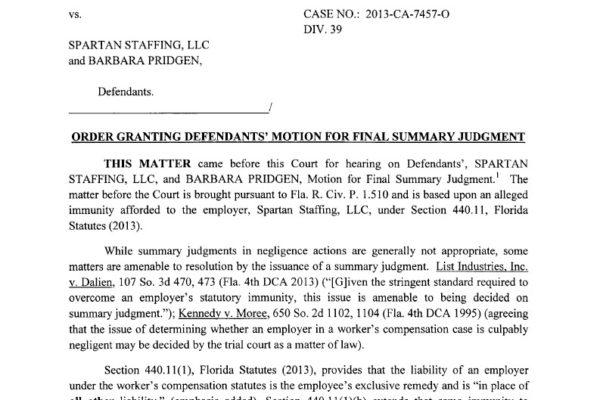 Toucet vs Spartan Staffing LLC - Order on Defendents1024_1